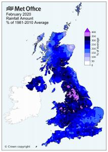 Met Office Feb 2020 rainfall flooding