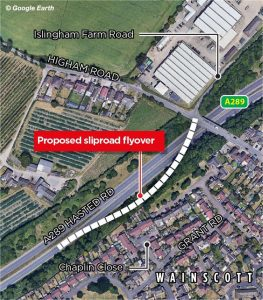 aerial image of hoo peninsula kent flyover proposal